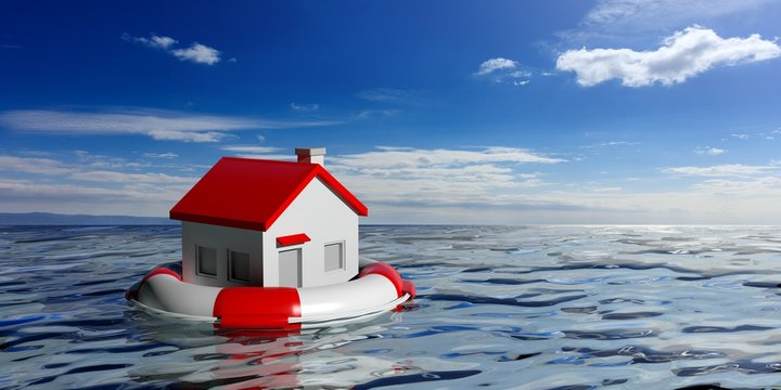 Lifebuoy and a small house on blue sea background. 3d illustration