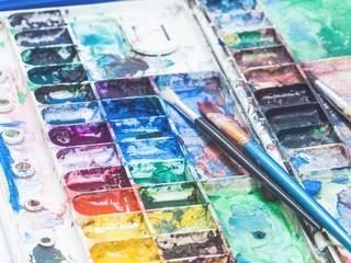 Art instrument,watercolor,brush,palette