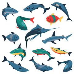 Vector set of fish icons in flat style