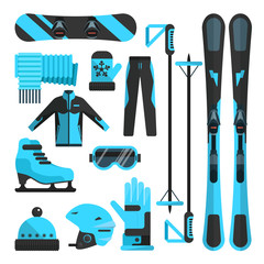 Vector flat icons set of skiing, skating and snowboarding outfit