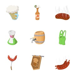 Beer drink icons set, cartoon style