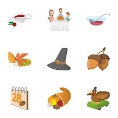 Gratitude celebration icons set, cartoon style