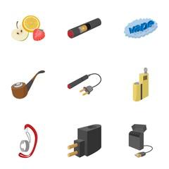 Electronic smoking cigarette icons set