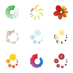 Download page icons set, cartoon style