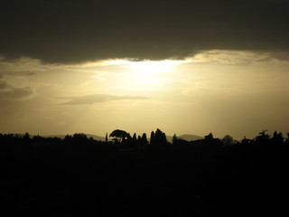 Sunsetting over Florence, Italy - silhouette landscape