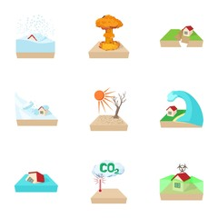 Natural emergency icons set, cartoon style