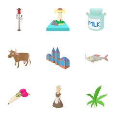 Tourism in Holland icons set, cartoon style