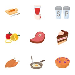 Food stuff icons set, cartoon style