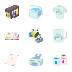 Printing in polygraphy icons set, cartoon style