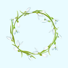 Spring  illustration with snowdrops flower wreath