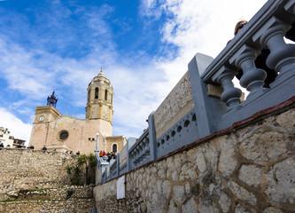 View of Iglesia de Sant Bartomeu i Santa Tecla. Sitges, Spain
