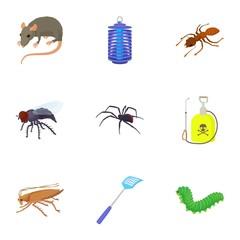 Pests icons set, cartoon style