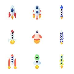 Types of rocket icons set, cartoon style