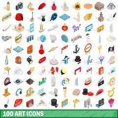 100 art icons set, isometric 3d style