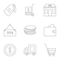 Market icons set, outline style