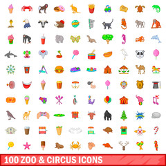100 zoo and circus icons set, cartoon style