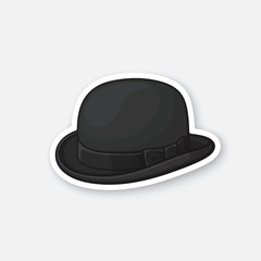 Vector illustration. Black retro bowler hat. Vintage elegant hat. Sticker in cartoon style with contour. Decoration for greeting cards, patches, prints for clothes, badges, posters, emblems