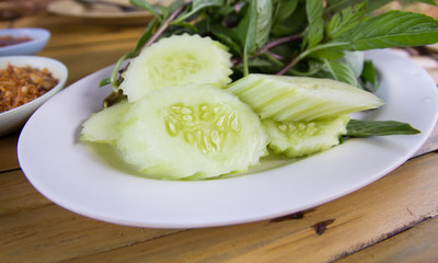 cucumber on plate