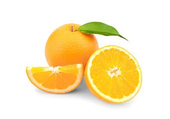 Fresh oranges, isolated on white