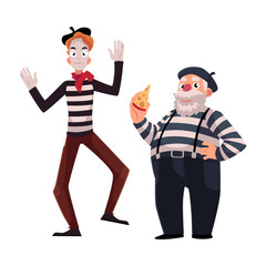 Two French mimes, young and old, in traditional costumes as symbols of France, cartoon vector illustration isolated on white background. French mime characters, slim and fat, young and old