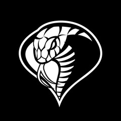 Furious cobra sport mono vector logo concept isolated on dark background. Modern military professional team badge design. Premium quality wild snake t-shirt tee print illustration.