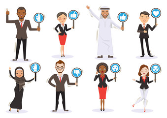 Business men and women Six Character Personality Holding sign ,thumps up ,thumps down ,OK ,Surprised, love, icon.Multinational Team work Concept.Illustrations vector cartoon.isolated white background
