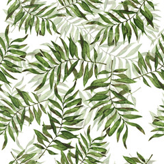 Seamless pattern with green palm tree leaves on white background. Hand drawn watercolor illustration.