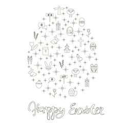 Monochrome stock vector illustration lettering Happy Easter, doodle egg