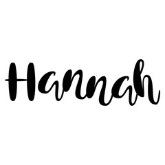 Female name - Hannah. Lettering design. Handwritten typography. Vector