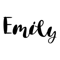 Female name - Emily. Lettering design. Handwritten typography. Vector