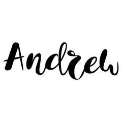 Male name - Andrew. Lettering design. Handwritten typography. Vector