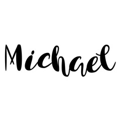 Male name - Michael. Lettering design. Handwritten typography. Vector