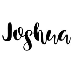Male name - Joshua. Lettering design. Handwritten typography. Vector
