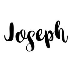 Male name - Joseph. Lettering design. Handwritten typography. Vector