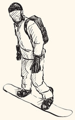 sketch of Snow board man riding, Winter Sport, Snowboarding collection, free hand draw illustration vector