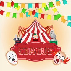 Circus poster, Magic show. For use as logos on cards, in printing, posters, invitations, web design and other purposes.