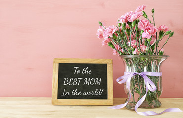 Mothers day concept. Bouquet of Carnation flowers in the vase