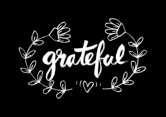 Grateful, hand lettering. Modern calligraphy.