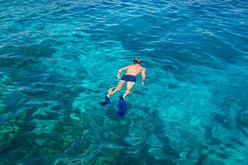 Snorkeling at Koh Rok, Andaman Sea, THAILAND.