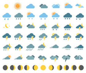 weather icons on white background in color