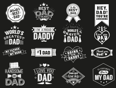 The variety of black and white dad signs. Isolated Happy fathers day quotes on the black background. Daddy congratulation label, badge vector collection. Mustache, hat, stars elements for your design.
