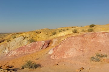 Colored rocky dunes in the Desert of Negev, Israel