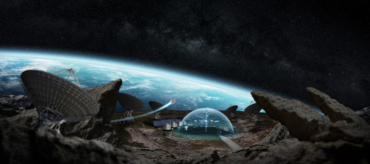 Observatory station in space 3D rendering elements of this image furnished by NASA