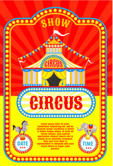 Circus poster. Circus tent. Trained animals. Vector illustration.