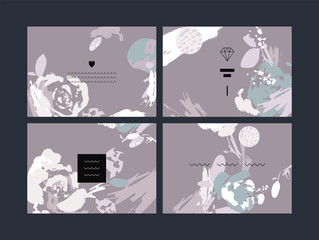 Set of abstract creative handmade greeting cards. Vector illustration.