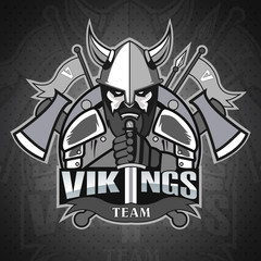 Vikings logo mascot for a team on a color background. Sport logo. Vector illustration. EPS10