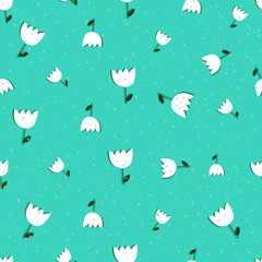 Seamless pattern with tulips on blue background. Spring wrapping paper. Hand drawn Vector illustration. Nature texture.
