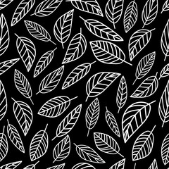 Seamless pattern graphic leaves on black background. Nature background. Wrapping paper. Hand drawn vector illustration.