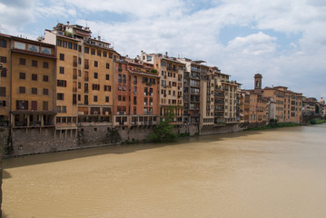 Colorful tuscan facades on the edge of the river Arno, Florence, Italy