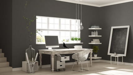 Home workplace, scandinavian house room corner office, classic minimalist interior design